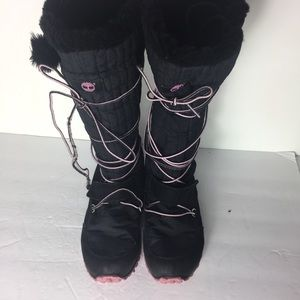 Timberland Black 6 Casual Mid Calf Snow Chic Boots